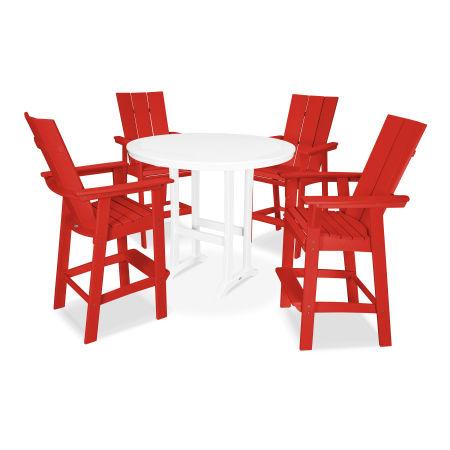 Modern Adirondack 5-Piece Nautical Trestle Bar Set in Sunset Red / White