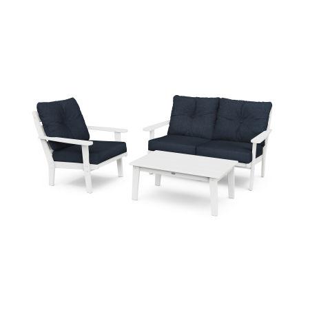 Lakeside 3-Piece Deep Seating Set in White / Marine Indigo