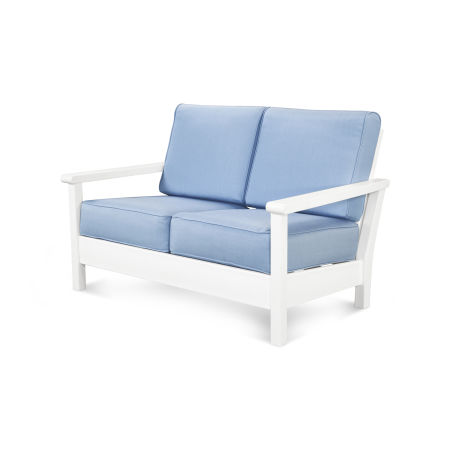 Harbour Deep Seating Settee in White / Air Blue