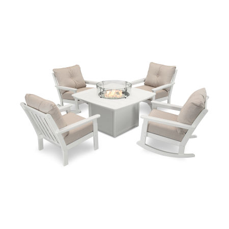 Vineyard 5-Piece Deep Seating Rocking Chair Conversation Set with Fire Pit Table in White / Cast Ash