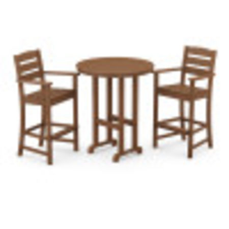 Lakeside 3-Piece Round Bar Arm Chair Set in Teak