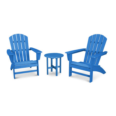 Nautical 3-Piece Adirondack Set in Vintage Pacific Blue