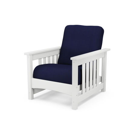 Mission Chair in White / Navy