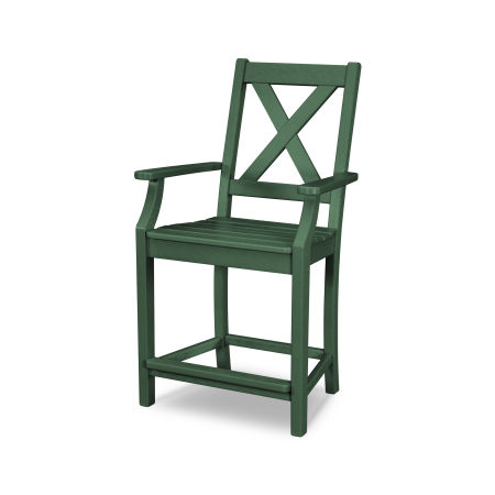 Braxton Counter Arm Chair in Green