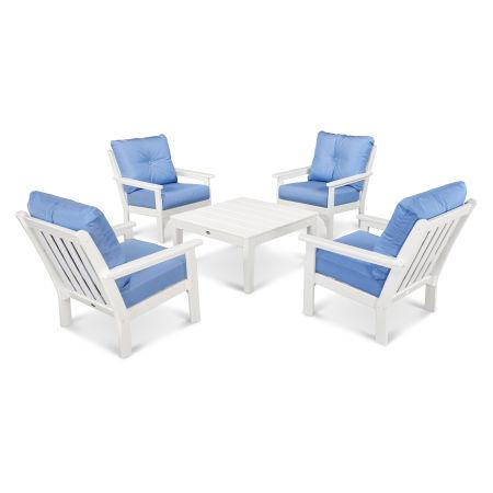 Vineyard 5-Piece Conversation Set in White / Air Blue