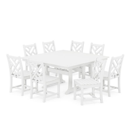 Chippendale 9-Piece Farmhouse Trestle Dining Set in White