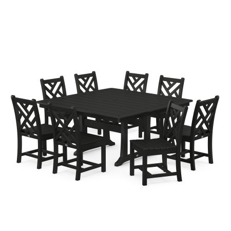 Chippendale 9-Piece Farmhouse Trestle Dining Set in Black