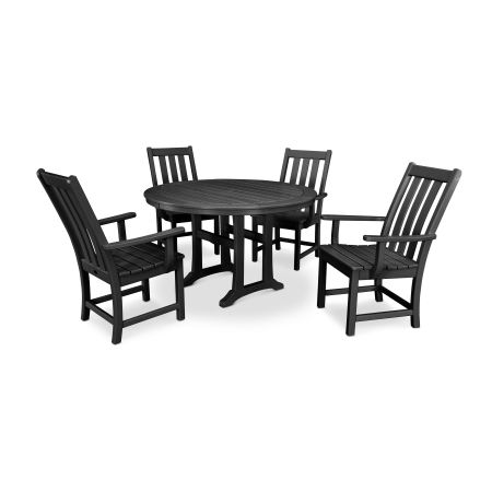 Vineyard 5-Piece Nautical Trestle Dining Set in Black
