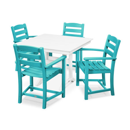 La Casa Café 5-Piece Farmhouse Arm Chair Dining Set in Aruba / White