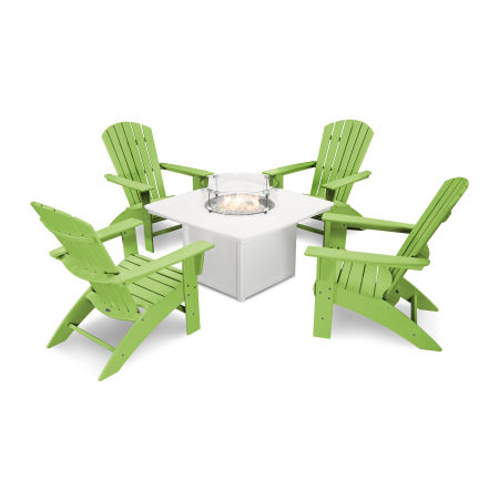 Nautical Curveback Adirondack 5-Piece Conversation Set with Fire Table in Lime