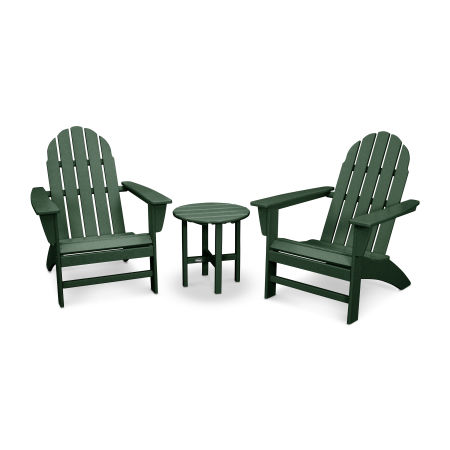 Vineyard 3-Piece Adirondack Set in Green