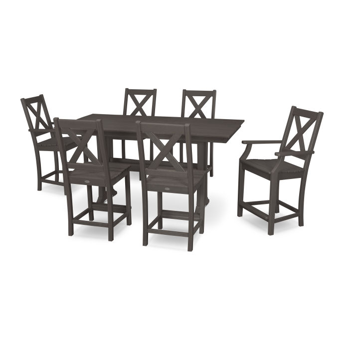 Braxton 7-Piece Farmhouse Trestle Counter Set in Vintage Finish