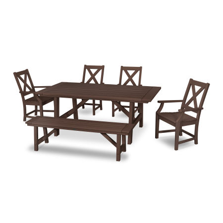Braxton 6-Piece Rustic Farmhouse Arm Chair Dining Set with Bench in Mahogany