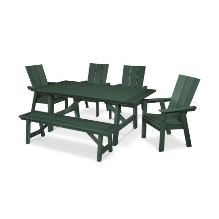Modern Adirondack 6-Piece Rustic Farmhouse Dining Set with Bench in Green
