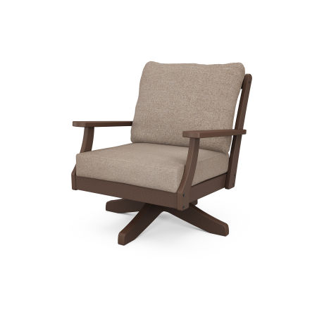 Braxton Deep Seating Swivel Chair in Mahogany / Spiced Burlap
