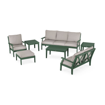 Braxton 7-Piece Deep Seating Set in Green / Weathered Tweed