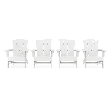 Wave Collection 4-Piece Adirondack Chair Set in White