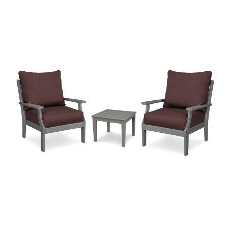 Braxton 3-Piece Deep Seating Set in Slate Grey / Cast Currant