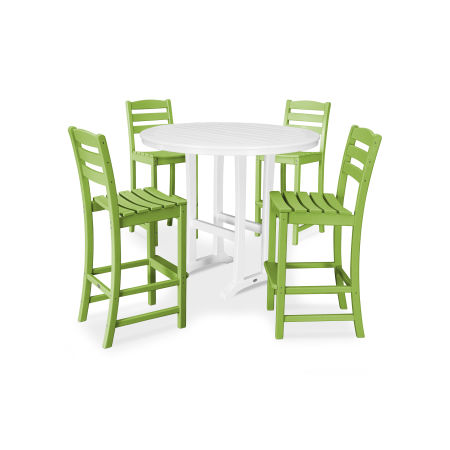 La Casa Café 5 Piece Side Chair Bar Dining Set in Lime