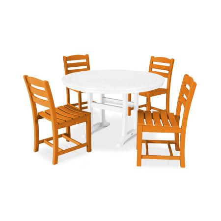 La Casa Café 5 Piece Side Chair Dining Set in Tangerine