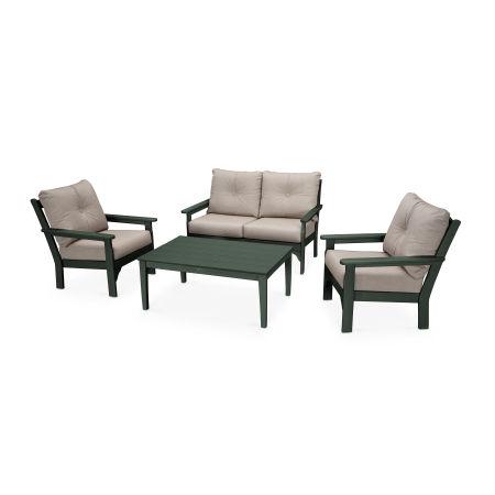 Vineyard 4-Piece Deep Seating Set in Green / Cast Ash