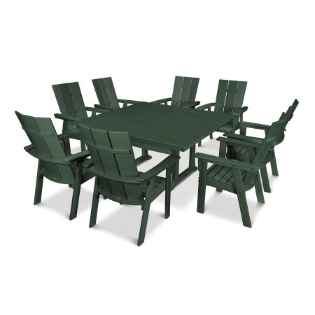 Modern Adirondack 9-Piece Farmhouse Dining Set in Green