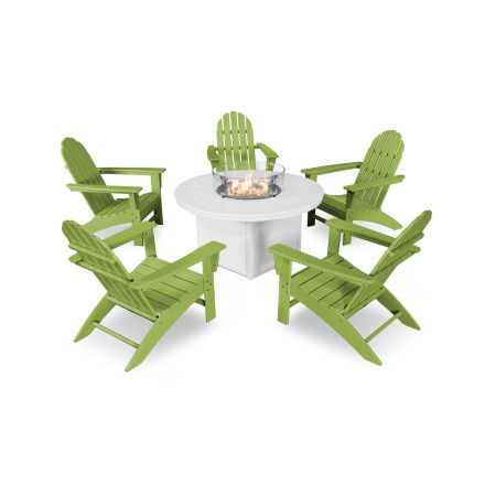Vineyard Adirondack 6-Piece Chat Set with Fire Pit Table in Lime