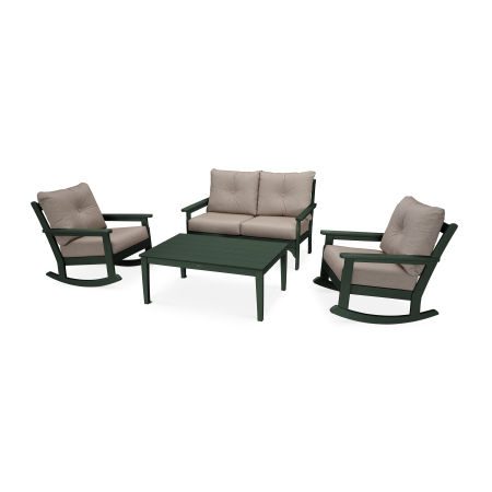 Vineyard 4-Piece Deep Seating Rocking Chair Set in Green / Cast Ash