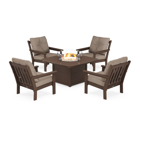 Vineyard 5-Piece Conversation Set with Fire Pit Table in Mahogany / Spiced Burlap