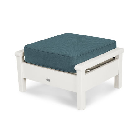 Harbour Deep Seating Ottoman in Vintage White / Blend Lagoon
