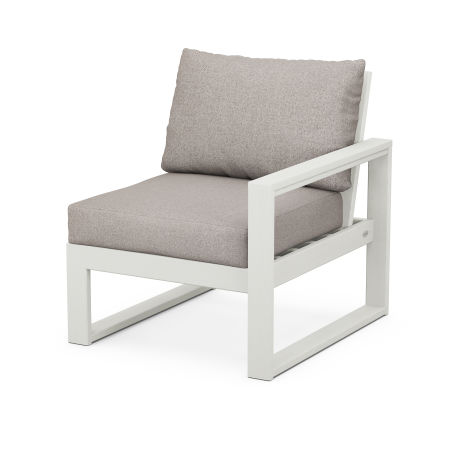 EDGE Modular Right Arm Chair in Vintage White / Weathered Tweed