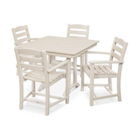 La Casa Café 5-Piece Farmhouse Arm Chair Dining Set in Sand