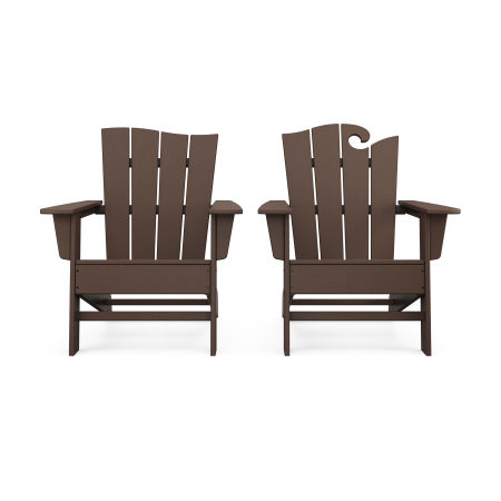 Wave 2-Piece Adirondack Set with The Wave Chair Left in Mahogany
