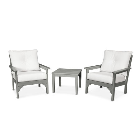 Vineyard 3-Piece Deep Seating Set in Slate Grey / Natural