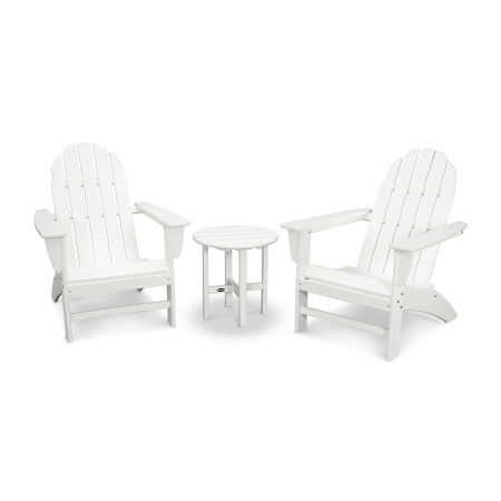Vineyard 3-Piece Adirondack Set in Vintage White