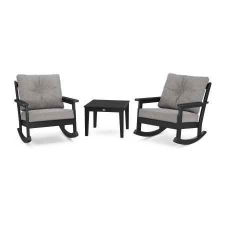 Vineyard 3-Piece Deep Seating Rocker Set in Black / Grey Mist