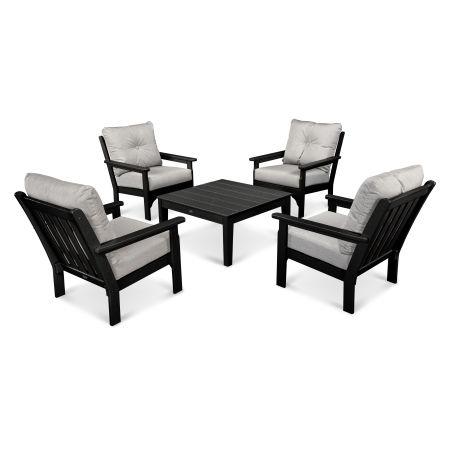 Vineyard 5-Piece Conversation Set in Black / Canvas Granite