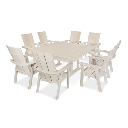 Modern Adirondack 9-Piece Farmhouse Dining Set in Sand