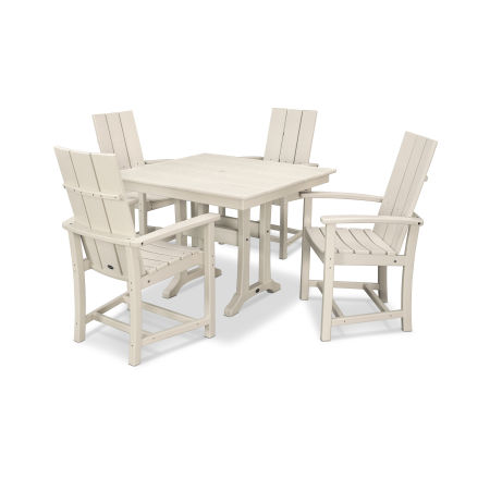Modern Adirondack 5-Piece Farmhouse Dining Set in Teak