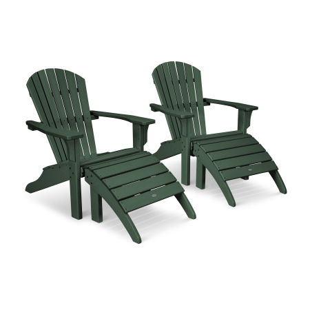 Seashell Adirondack Set with Ottomans in Green