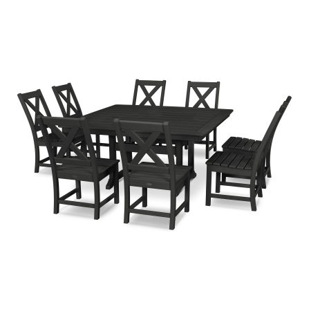 Braxton 9-Piece Nautical Trestle Dining Set in Black