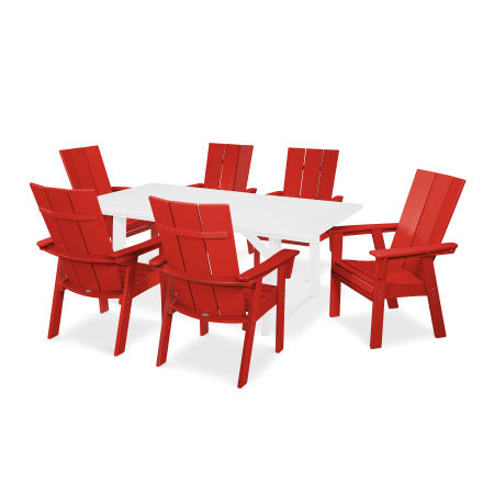 Modern Adirondack 7-Piece Rustic Farmhouse Dining Set in Sunset Red / White