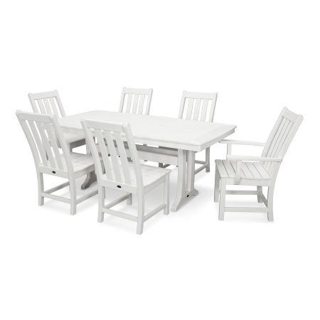 Vineyard 7-Piece Nautical Trestle Dining Set in Vintage White