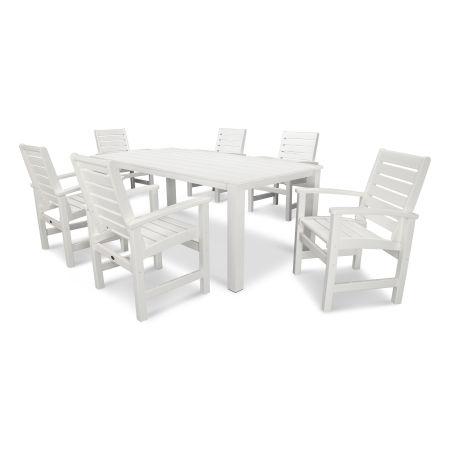 Signature 7-Piece Harvest Dining Set in Satin White / White