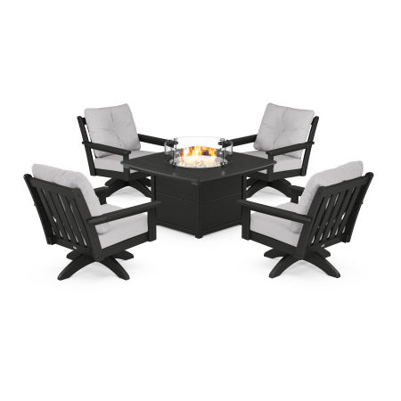 Vineyard 5-Piece Deep Seating Swivel Conversation Set with Fire Pit Table in Black / Granite