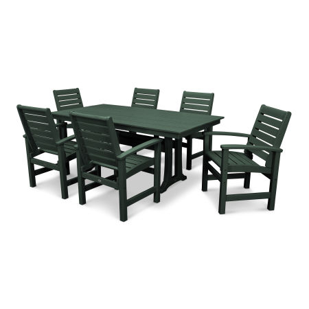 Signature 7 Piece Farmhouse Dining Set in Green