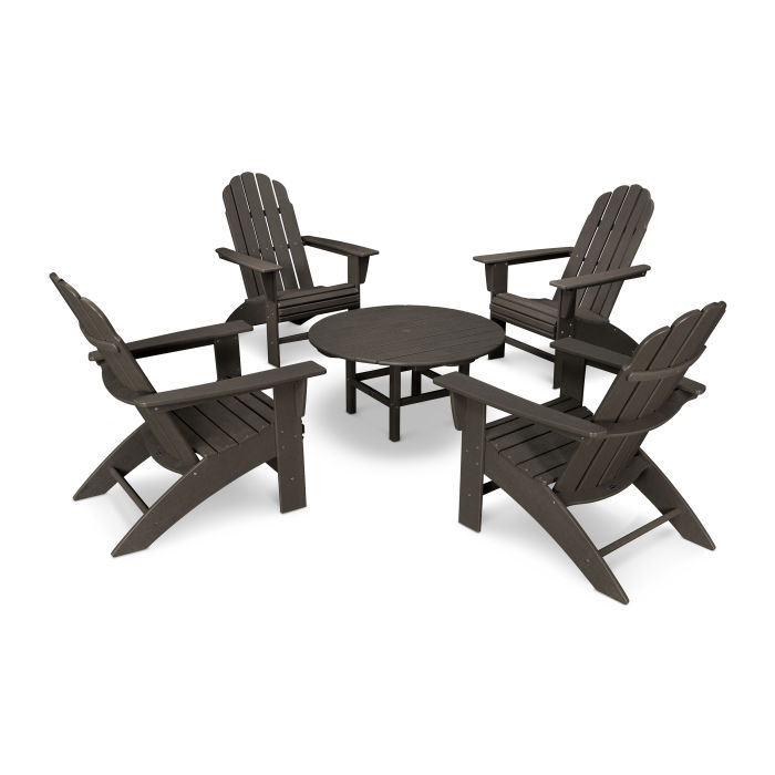 Vineyard 5-Piece Oversized Adirondack Set in Vintage Finish