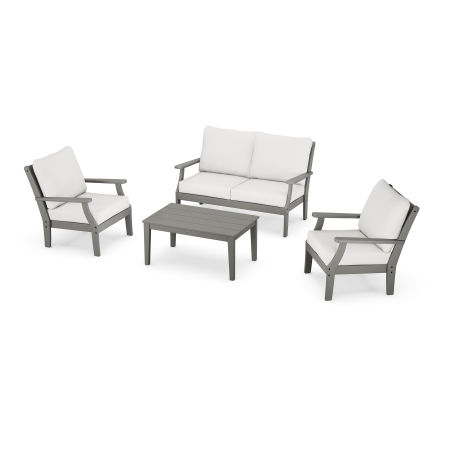 Braxton 4-Piece Deep Seating Chair Set in Slate Grey / Natural Linen