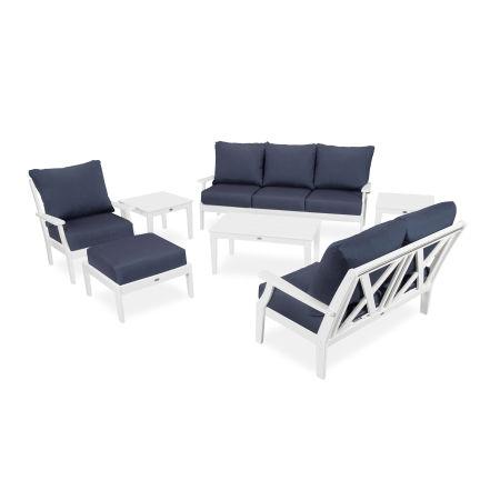 Braxton 7-Piece Deep Seating Set in White / Spectrum Indigo
