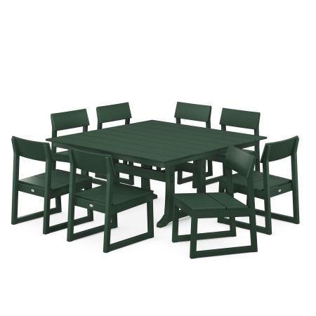 EDGE 9-Piece Farmhouse Trestle Dining Set in Green